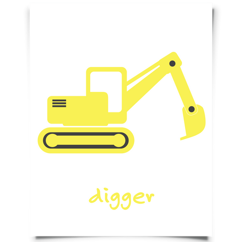 Digger Nursery Art - Yellow