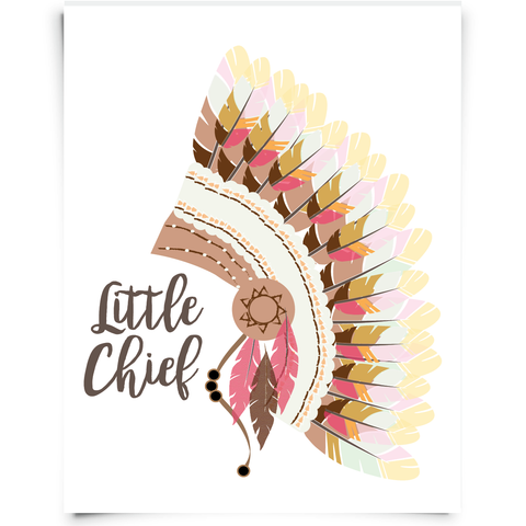 Little Chief Headdress Nursery Print