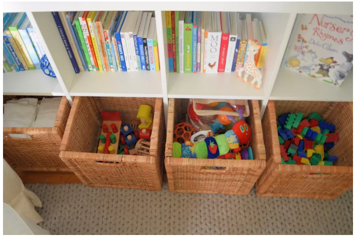 perfect nursery organization in Luke's peaceful nursery