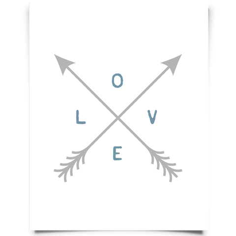 Love And Arrows Wall Art - Blue and Gray