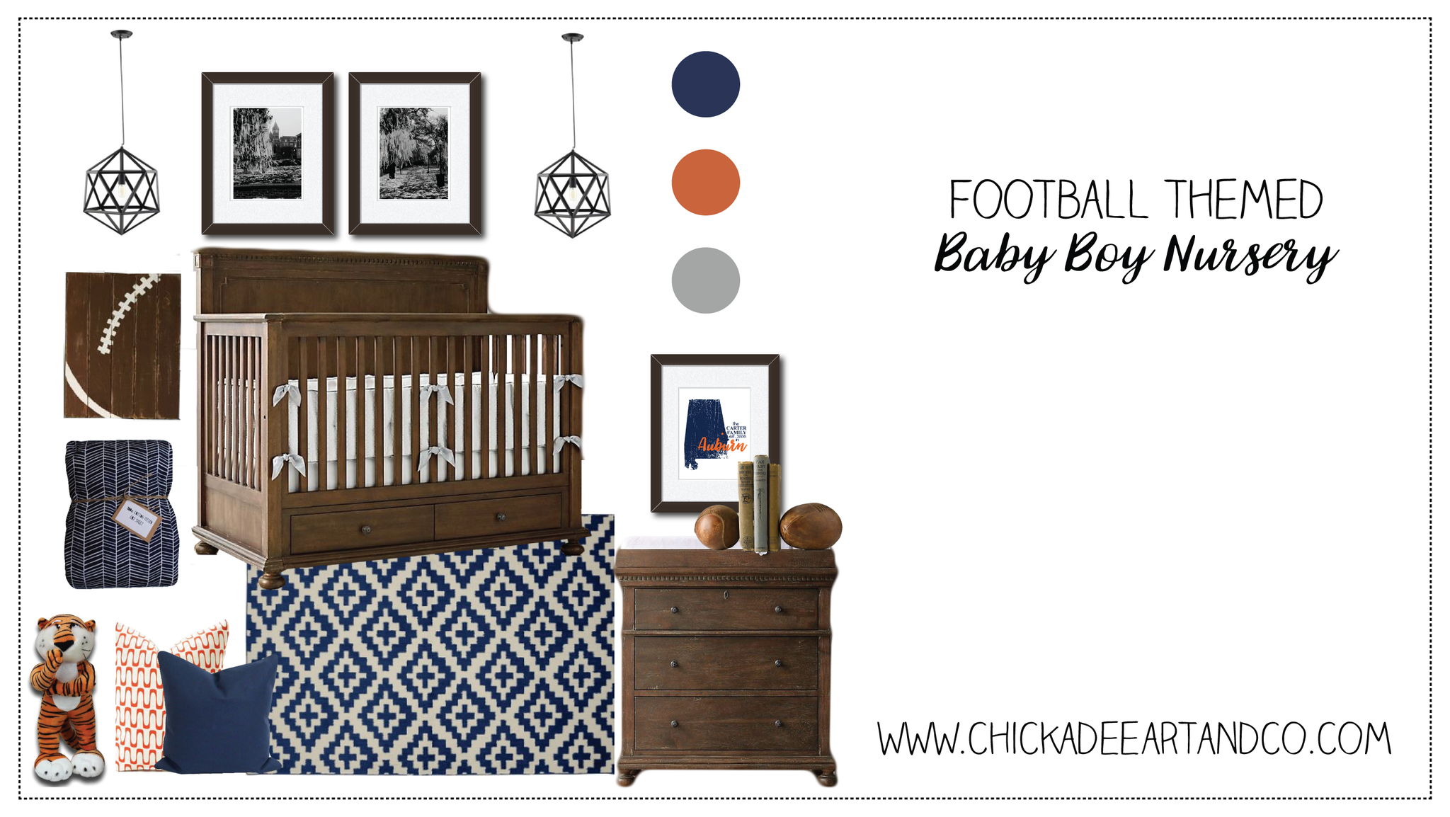 auburn university football baby nursery