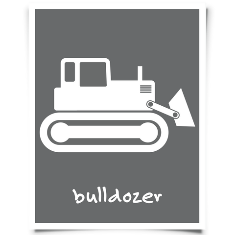 Bulldozer Free Printable - Dark Gray