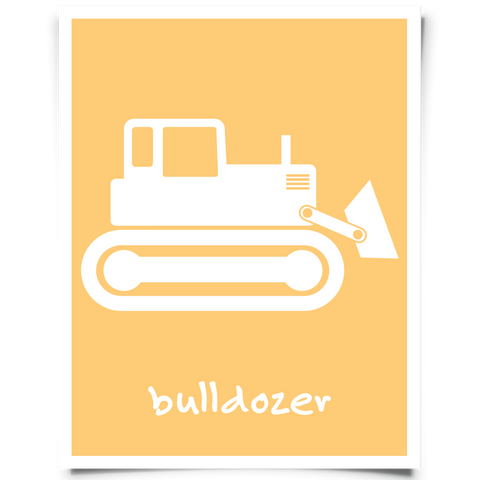 Bulldozer Free Printable - Orange