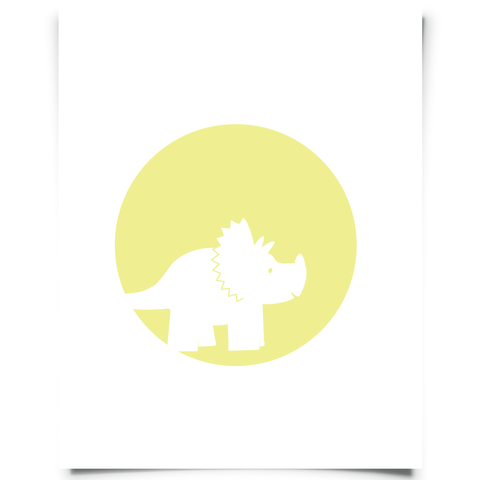 Triceratops Free Printable - Yellow