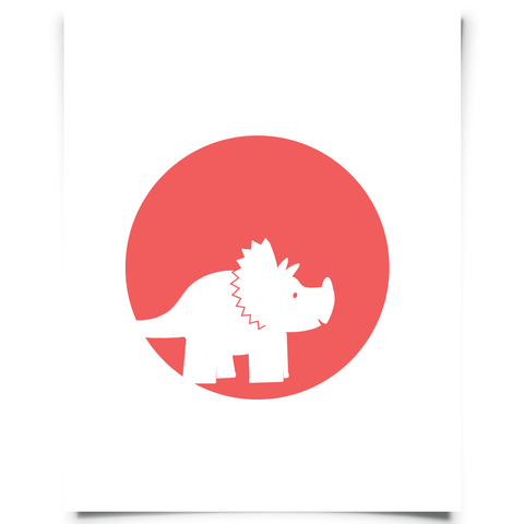 Triceratops Free Printable - Red