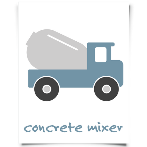 Concrete Mixer Nursery Art - Slate Blue