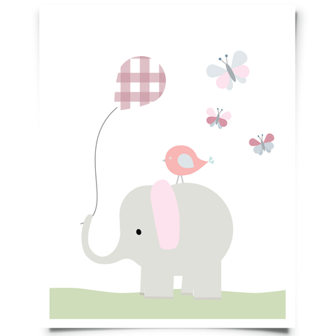 elephant and butterflies printable