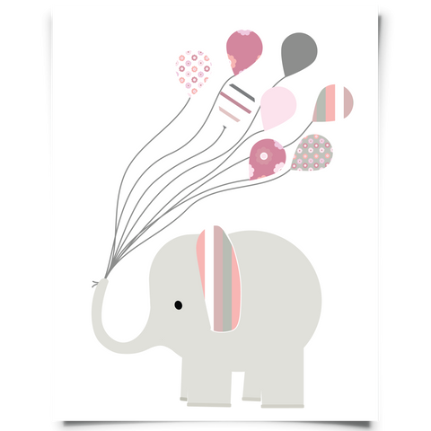 elephant holding balloons printable
