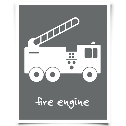 Fire Engine Printable - Dark Gray