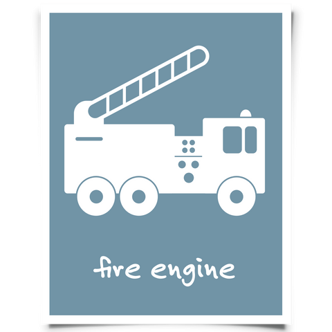 Fire Engine Printable - Blue