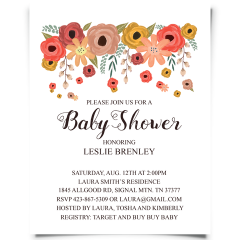 Free Floral Baby Shower Invitation