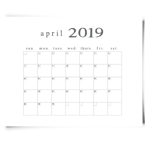 Free Printable April 2019 Minimalist Calendar