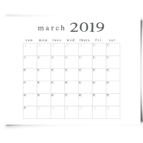 Free Printable March 2019 Minimalist Calendar