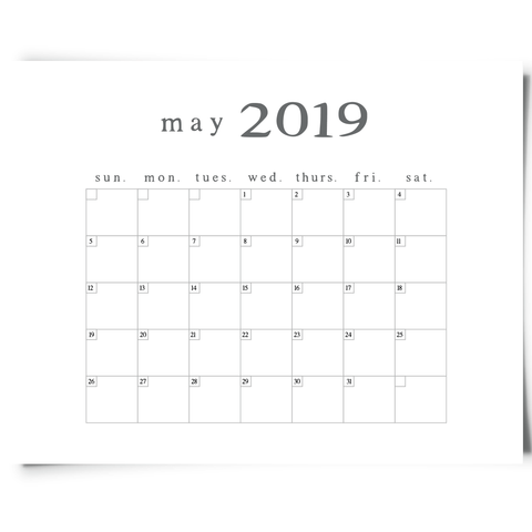 Free Printable May 2019 Minimalist Calendar