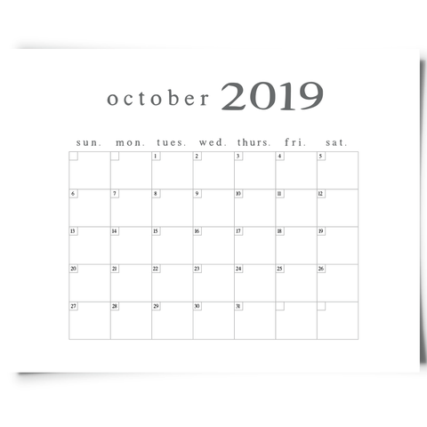 Free Printable October 2019 Minimalist Calendar