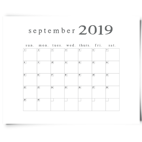 Free Printable September 2019 Minimalist Calendar