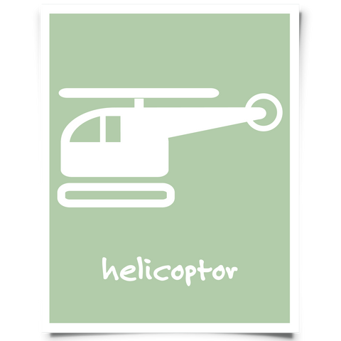 Helicopter Free Printable - Jade Green