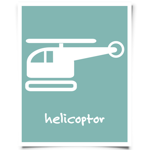 Helicopter Free Printable - Peacock Blue