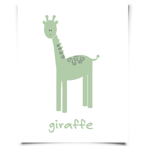 Giraffe Free Printable - Green