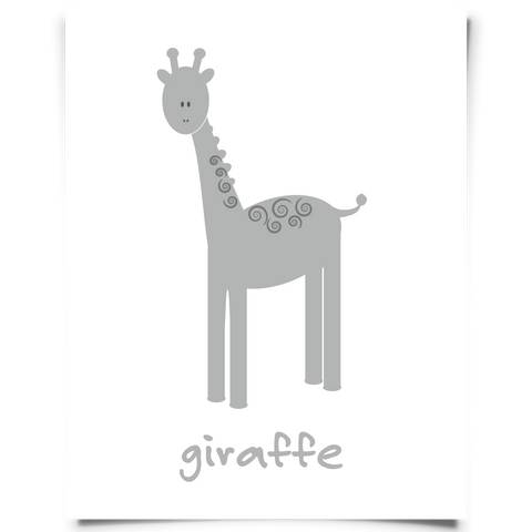 Giraffe Free Printable - Gray