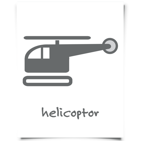 Helicopter Free Printable - Dark Gray
