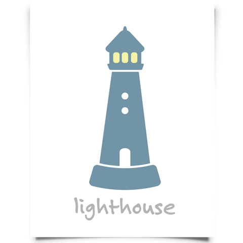 Lighthouse Art Printable - Navy Blue