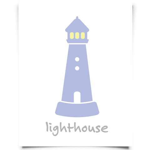 Lighthouse Art Printable - Plum