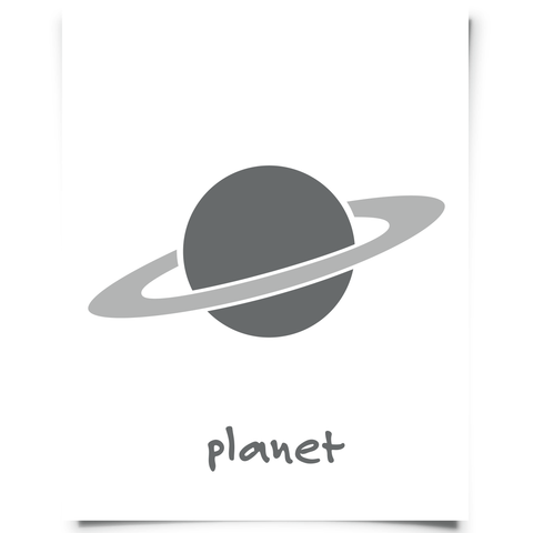 planet free printable dark gray