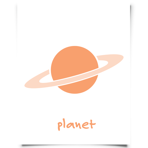planet free printable nursery art orange