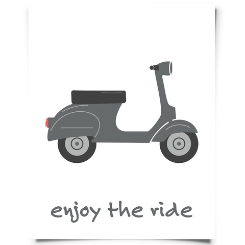 Enjoy The Ride Scooter Printable Gray