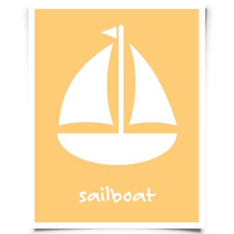 Free Sailboat Printable - Orange