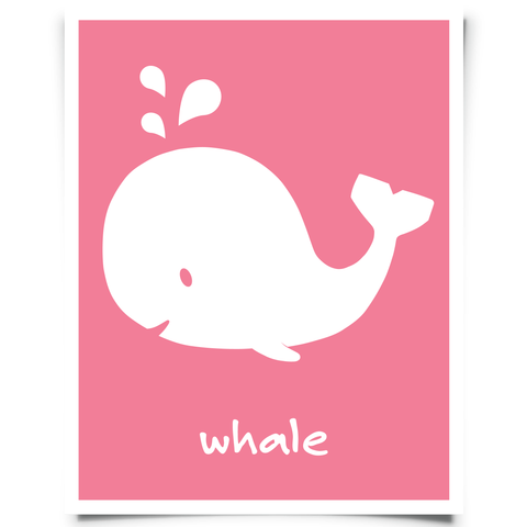 Free Whale Printable Nursery Art Pink