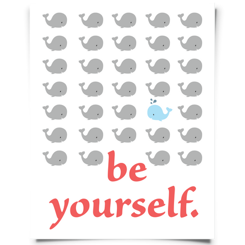 Be Yourself Whale Art Printable - Blue and Red