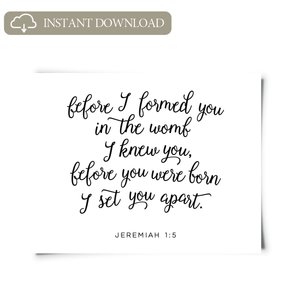 Jeremiah 1:5 Printable Art