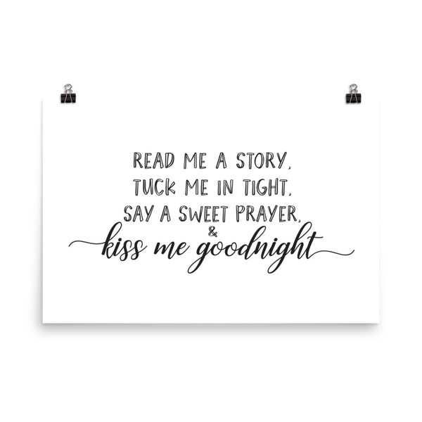 Kiss Me Goodnight Nursery Art Print