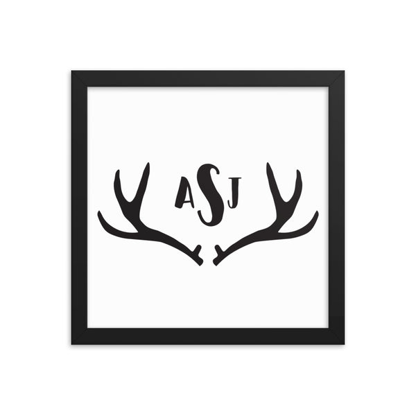 Custom Monogram Antler Framed Artwork