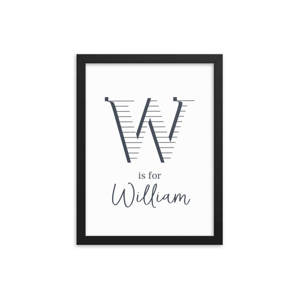 Boy's Name and Initial Framed Art Print