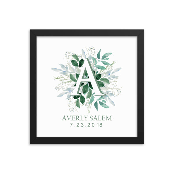 Initials and Greenery Framed Artwork
