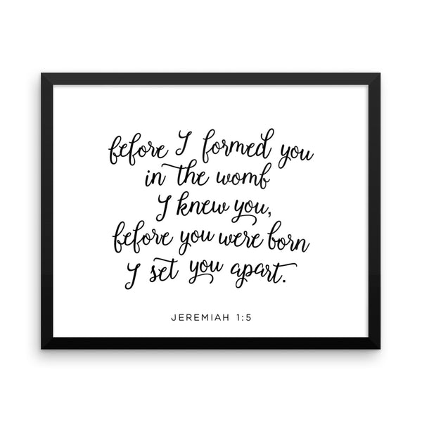 Jeremiah 1:5 Framed Nursery Art