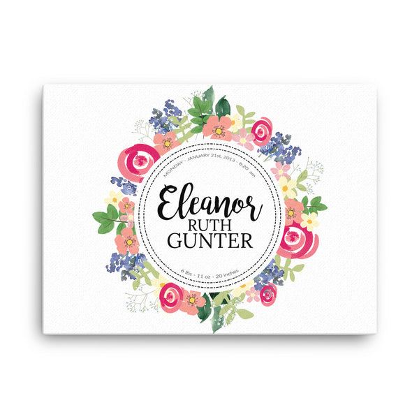Personalized Floral Canvas Nursery Wall Art