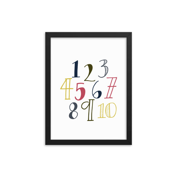 Numbers Framed Nursery Art