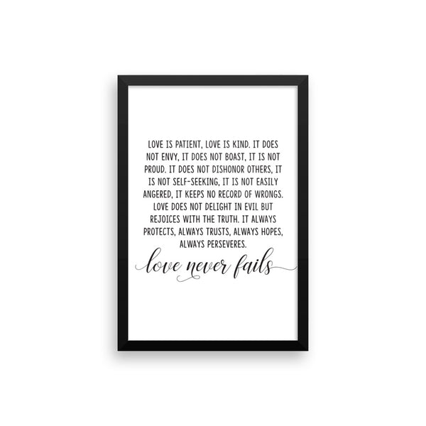 1 Corinthians 13:4-8 Framed Artwork