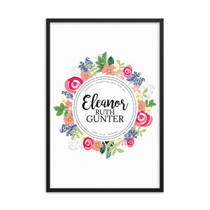 Personalized Floral Framed Nursery Art