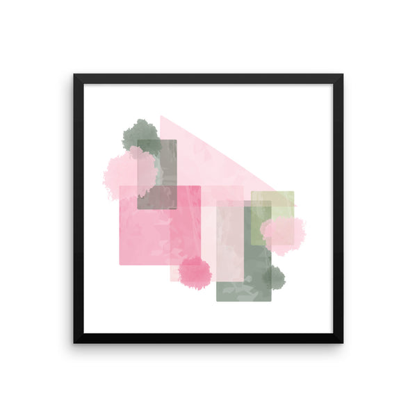 Framed Pink and Green Abstract Art