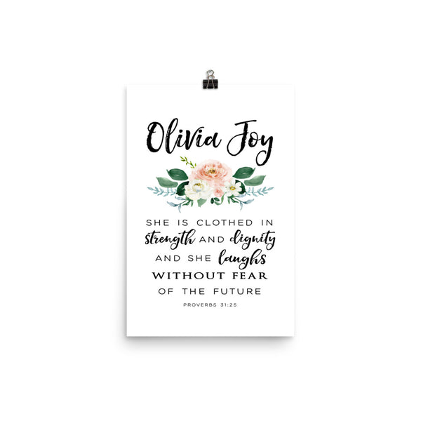 Girl's Name and Bible Verse Art Print