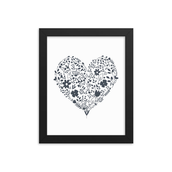 Floral Heart Framed Artwork