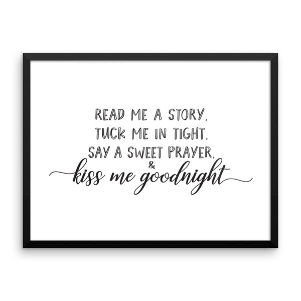 Kiss me Goodnight Framed Nursery Art