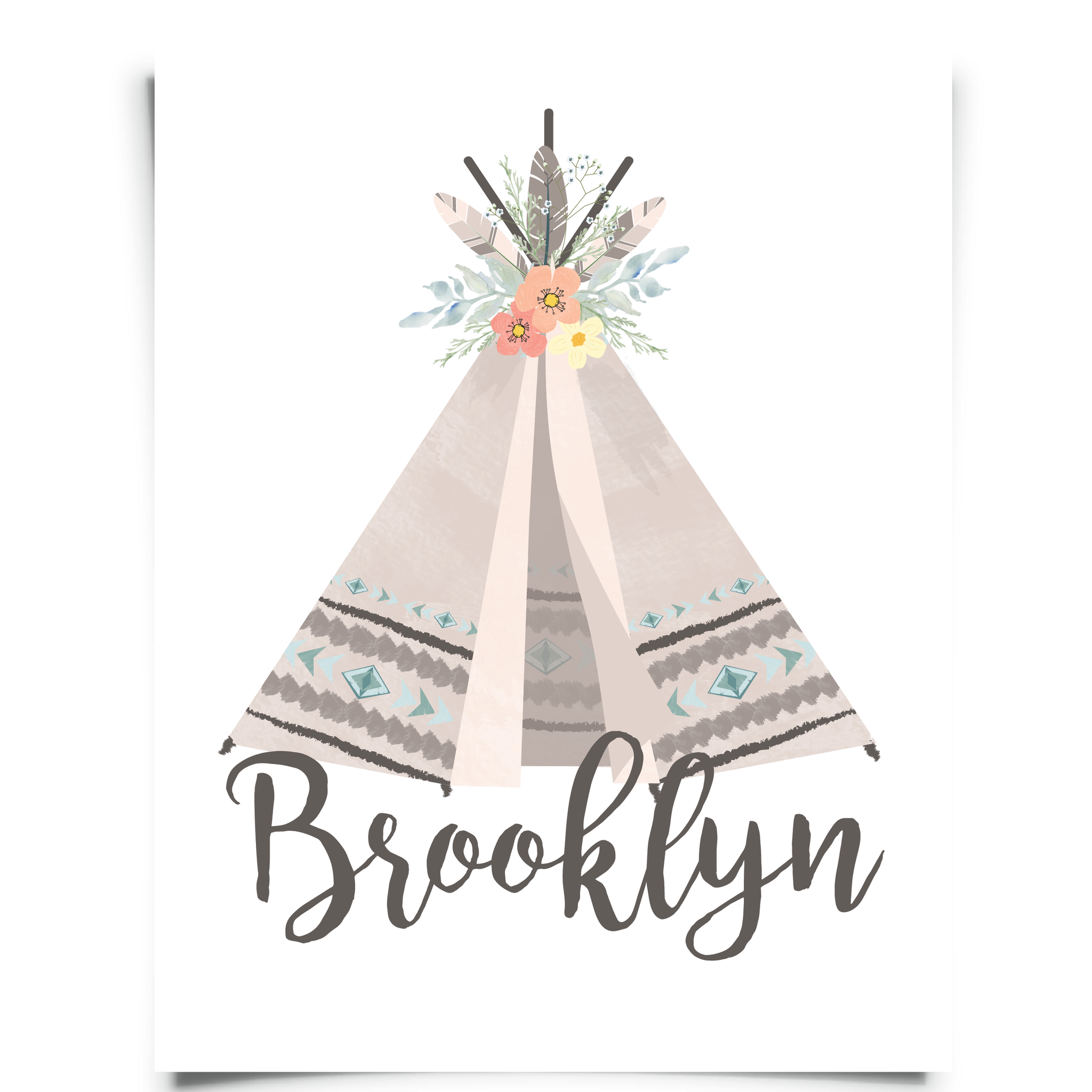 Personalized Teepee Nursery Art Print
