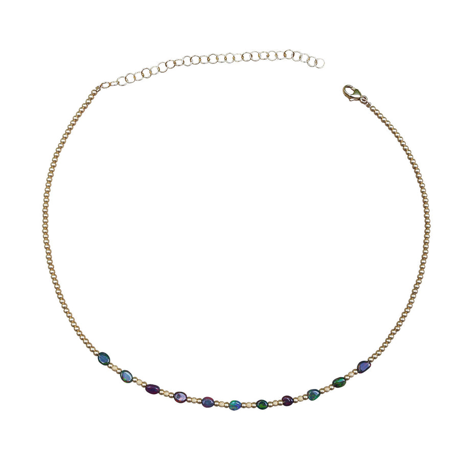 Black Opal & Gold Bead Necklace