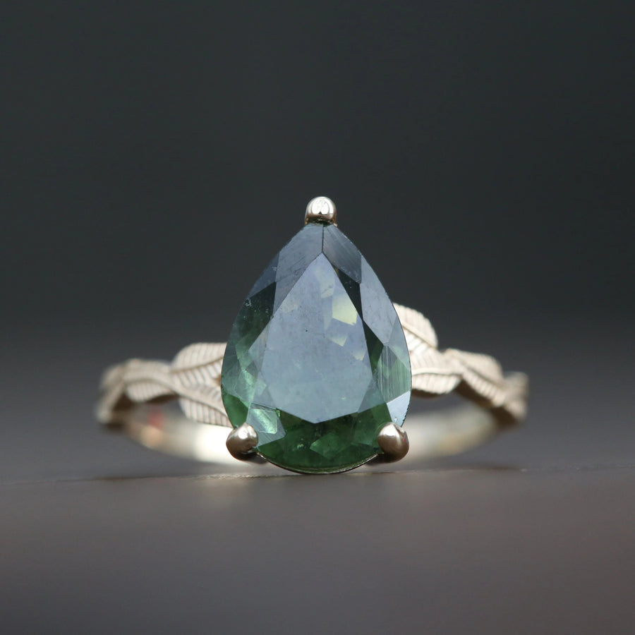 14k Gold Leaf Inspired Ring with Green Tourmaline